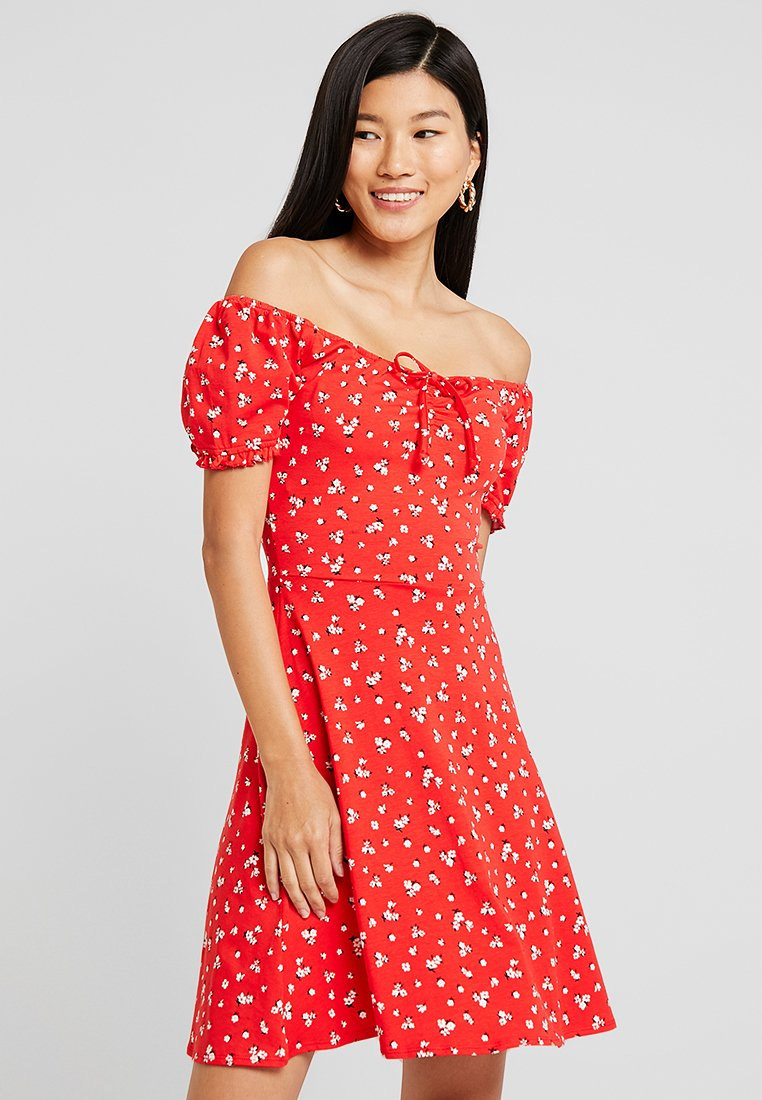 Dorothy Perkins - DITSY SCOOP NECK GYPSY DRESS - Robe en jersey - red