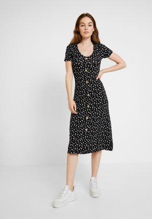 DITSY SHORT SLEEVE BUTTON THROUGH MIDI - Jersey dress - black