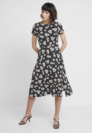 DAISY PRINT SHORT SLEEVE MIDI - Jersey dress - black