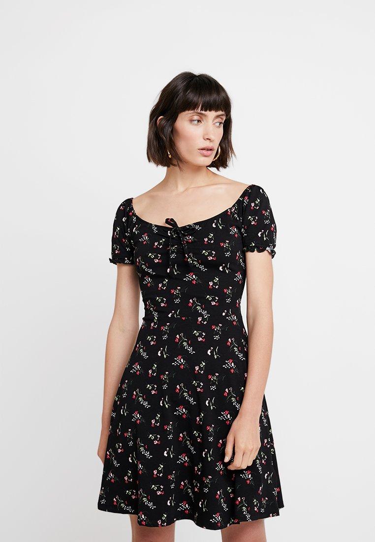 Dorothy Perkins - DITSY SCOOP NECK GYPSY DRESS - Denní šaty - black