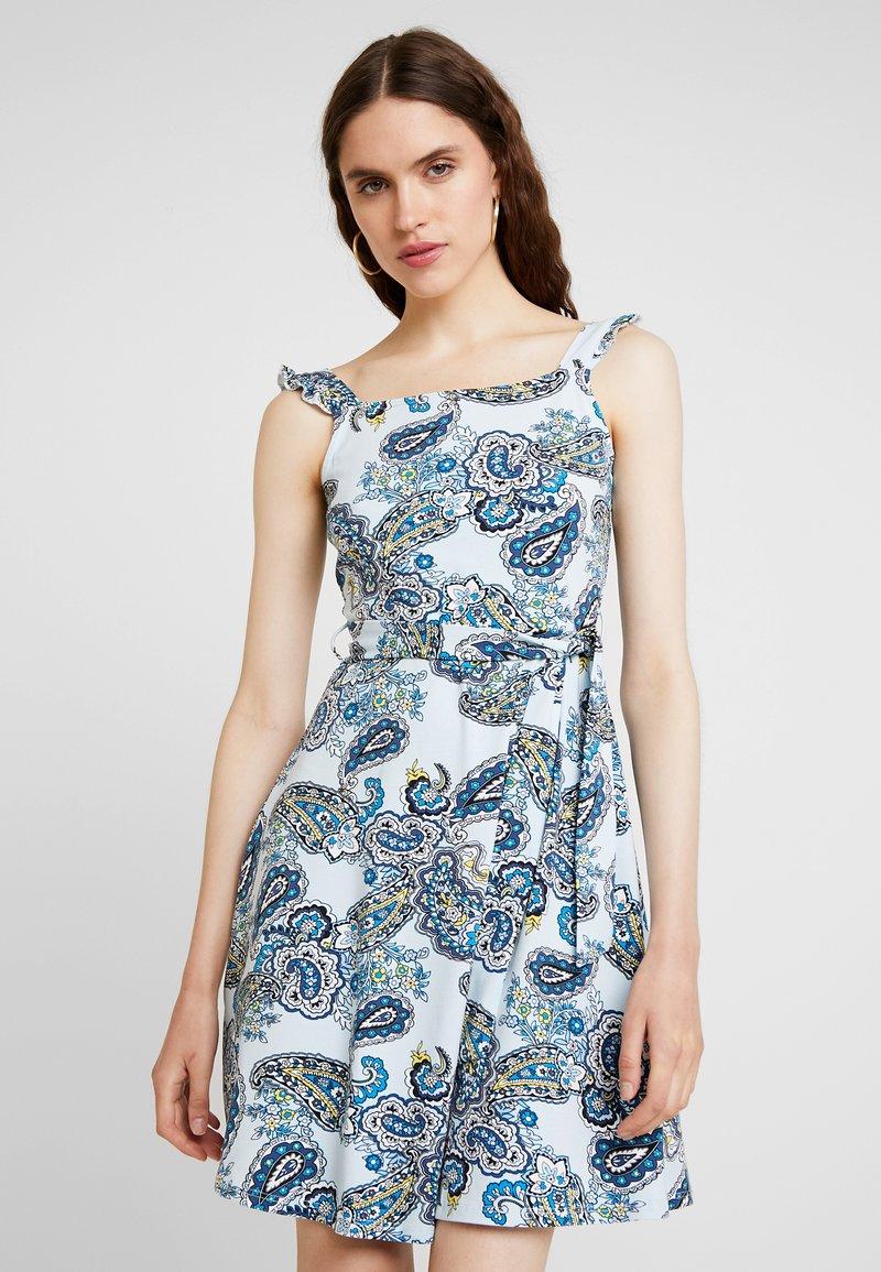 Dorothy Perkins - PAISLY RUFFLE TIE - Jerseykleid - light blue