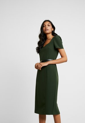 NECKLINE ROUCHED SLEEVE DAMSON - Shift dress - green