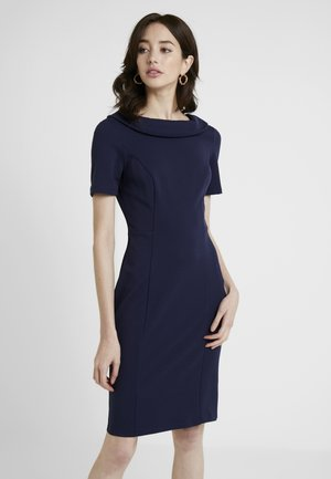 FOLD NECK PENSIL DRESS - Shift dress - navy