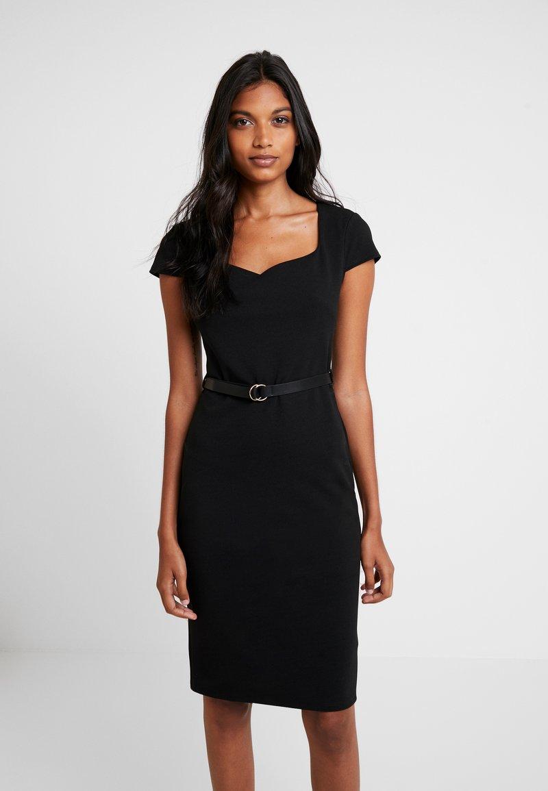 Dorothy Perkins - SWEETHEART BELTED DRESS - Etuikleid - black