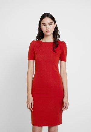 PUFF SLEEVE BODYCON - Shift dress - brick red