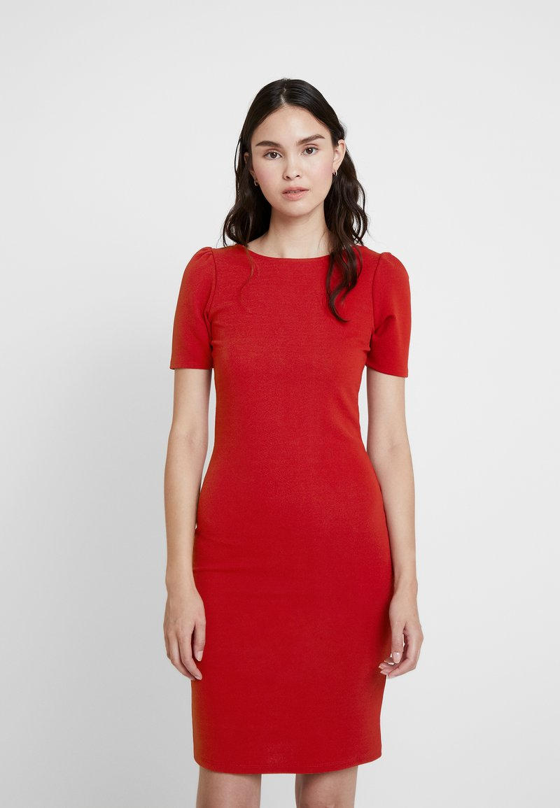 Dorothy Perkins - PUFF SLEEVE BODYCON - Shift dress - brick red