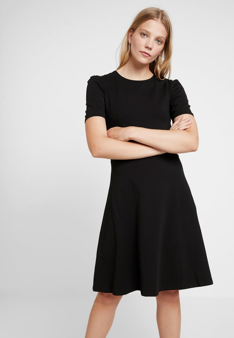 Dorothy Perkins - TUCK SLEEVE FIT AND FLARE - Jerseykjoler - black