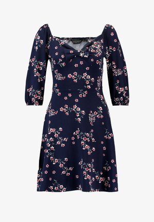 SLEEVE GYPSY TIE FRONT FIT FLARE - Jersey dress - navy