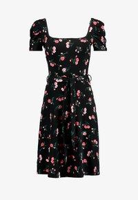 Dorothy Perkins - SHORT SLEEVE SQUARE NECK FIT AND FLARE - Žerzejové šaty - black - 5
