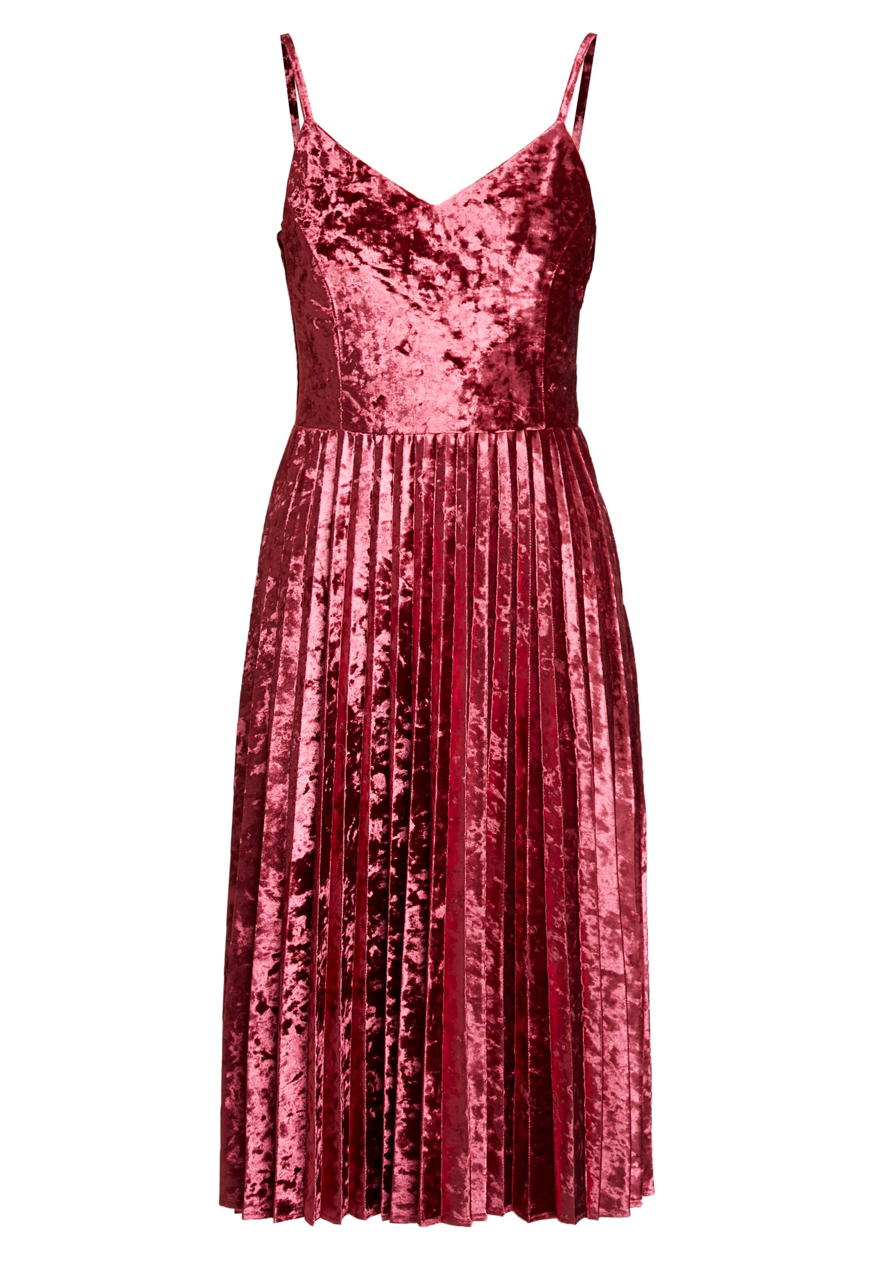 Dorothy Perkins Crushed Velvet Pleated Midi Dress - Cocktailklänning Oxblood