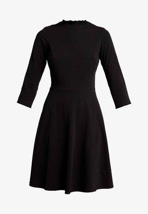 LONG SLEEVE SHEERED NECK FIT & FLARE - Jerseykleid - black