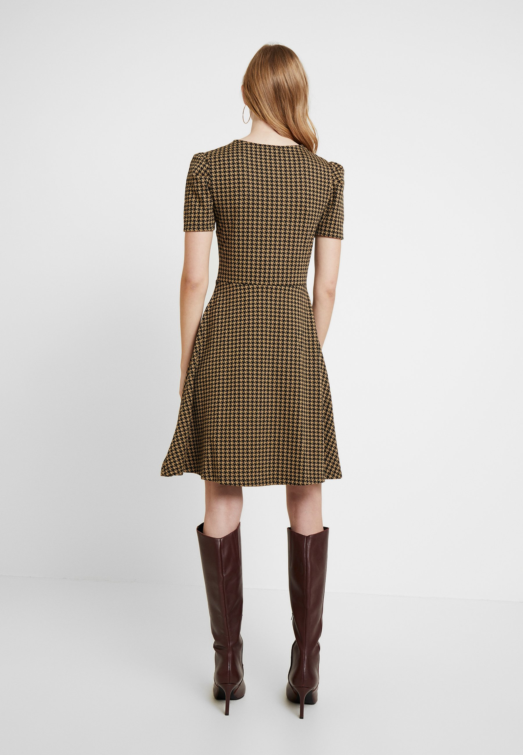 Dorothy Perkins Puff Sleeve Dogtooth Fit & Flare - Jerseyjurk Brown xpdCduQP