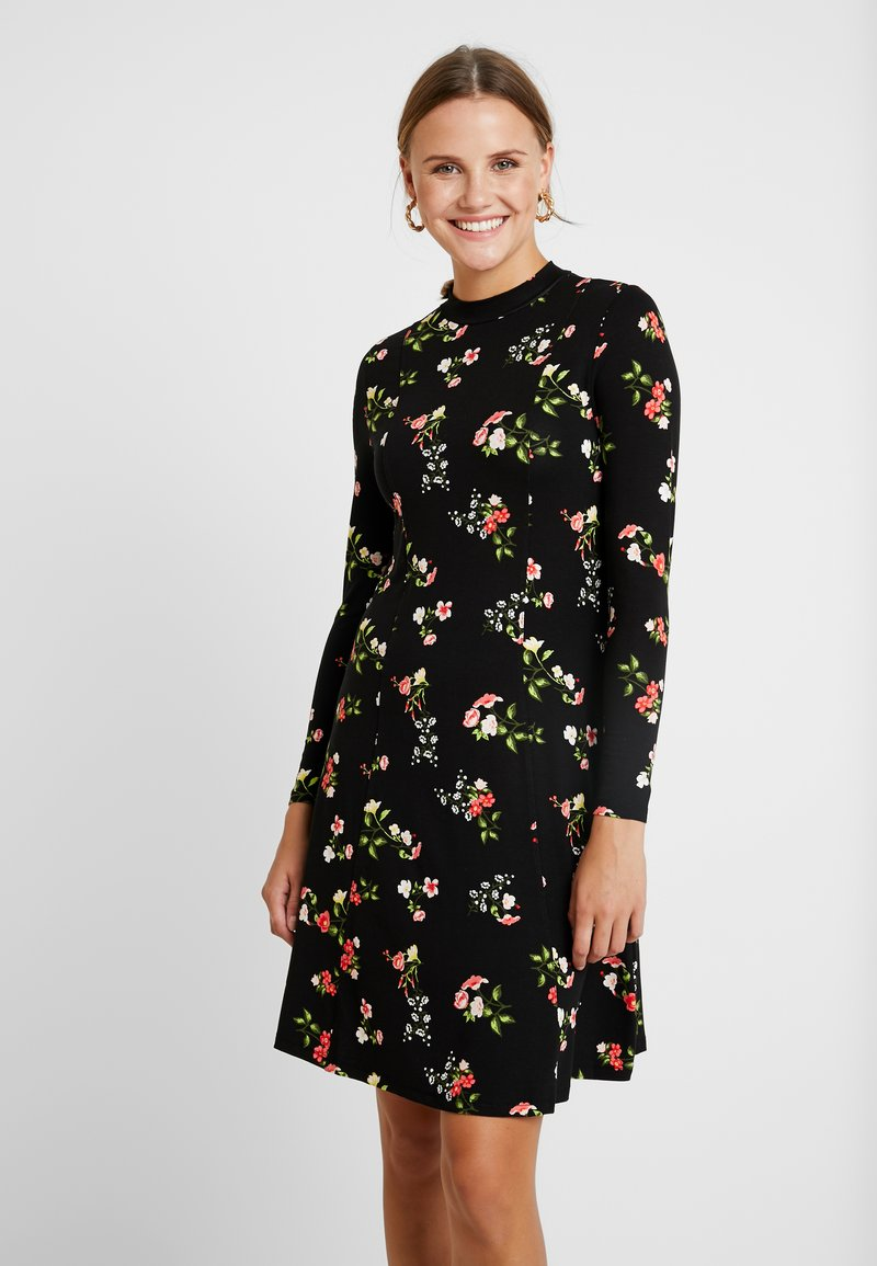Dorothy Perkins - WINTER FLORAL PRINT HIGH NECK SWING - Jerseykleid - black