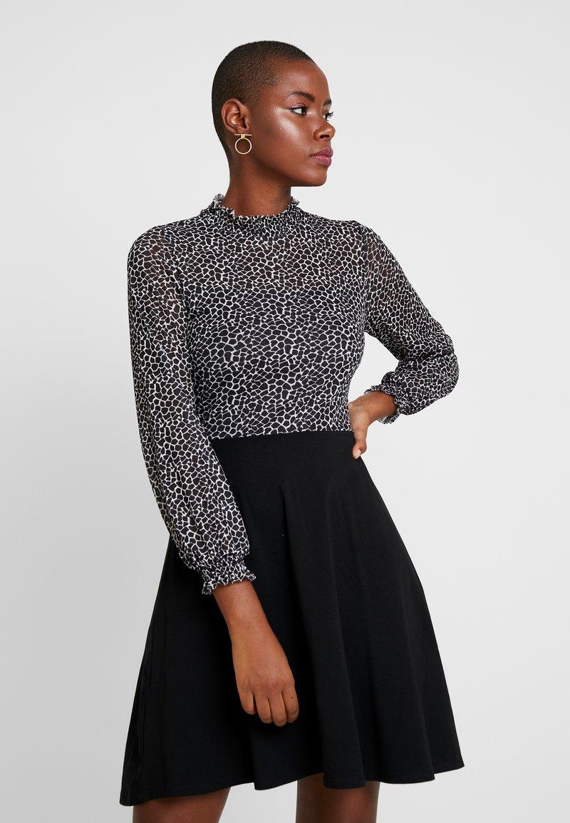 Dorothy Perkins - BUTTERFLY PRINT HIGH NECK SWING - Jersey dress - black