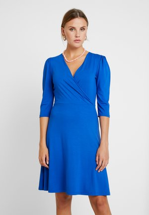 COBALT PUFF SLEEVE WRAP DRESS - Jerseykjole - cobalt