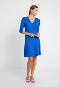 Dorothy Perkins - COBALT PUFF SLEEVE WRAP DRESS - Jersey dress - cobalt - 1