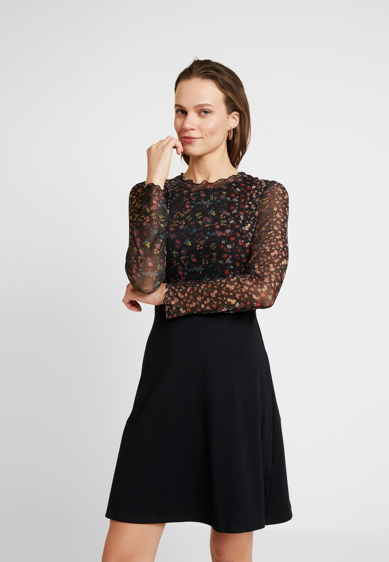 Dorothy Perkins - LONG SLEEVE FLORAL  - Jerseykleid - black