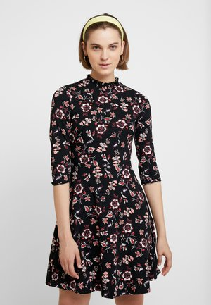 WINTER FLORAL SHEERED NECK FIT AND FLARE - Jersey dress - black