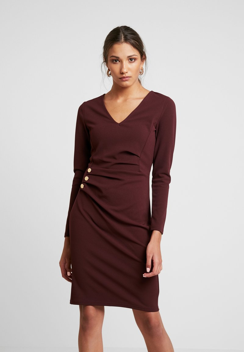 Dorothy Perkins - BUTTON DETAIL BODYCON - Shift dress - oxblood