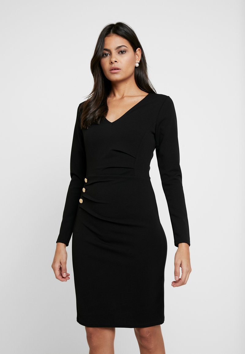 Dorothy Perkins - BUTTON DETAIL BODYCON - Etuikleid - black