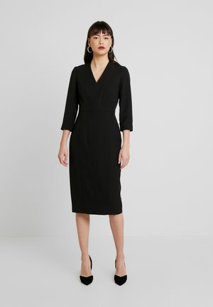 SLEEVE V NECK DRESS - Etui-jurk - black