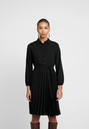PLEATED LONG SLEEVE MIDI - Košilové šaty - black