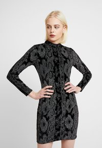 Dorothy Perkins - GLITTER HIGH NECK BODYCON - Pouzdrové šaty - black - 0