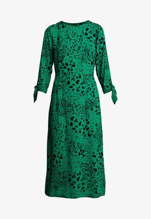ANIMAL TIE SLEEVE MIDI - Vestido informal - green