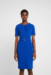 Dorothy Perkins - PLEAT NECK BELTED PENCIL - Robe fourreau - cobalt - 0