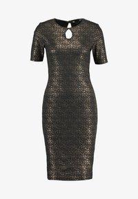 Dorothy Perkins - SPLIT NECK SMUDGE BODYCON - Vestido de tubo - gold - 4