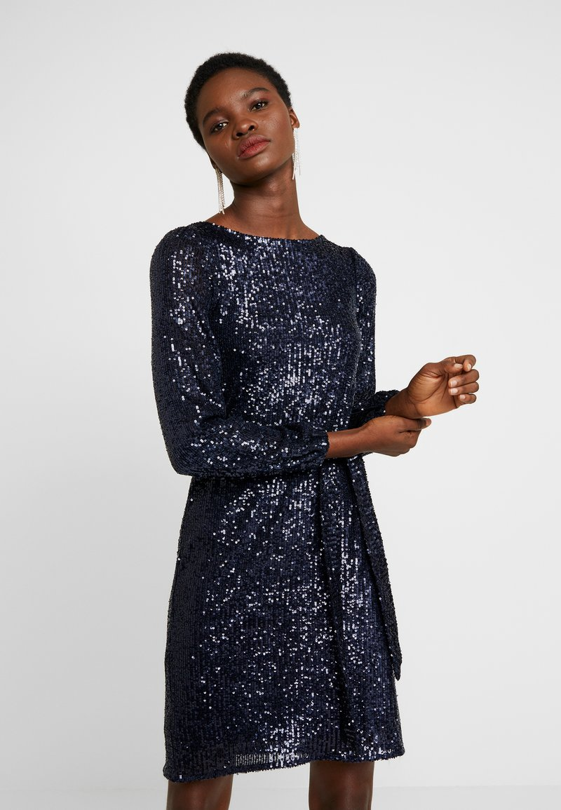 Dorothy Perkins - SEQUIN LONG SLEEVE FIT AND FLARE - Cocktailkjole - navy