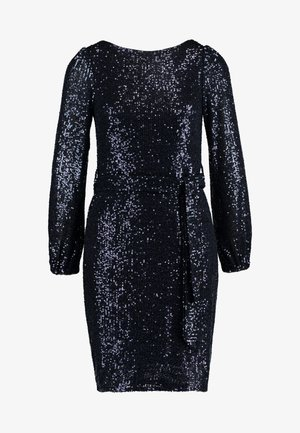 SEQUIN LONG SLEEVE FIT AND FLARE - Sukienka koktajlowa - navy
