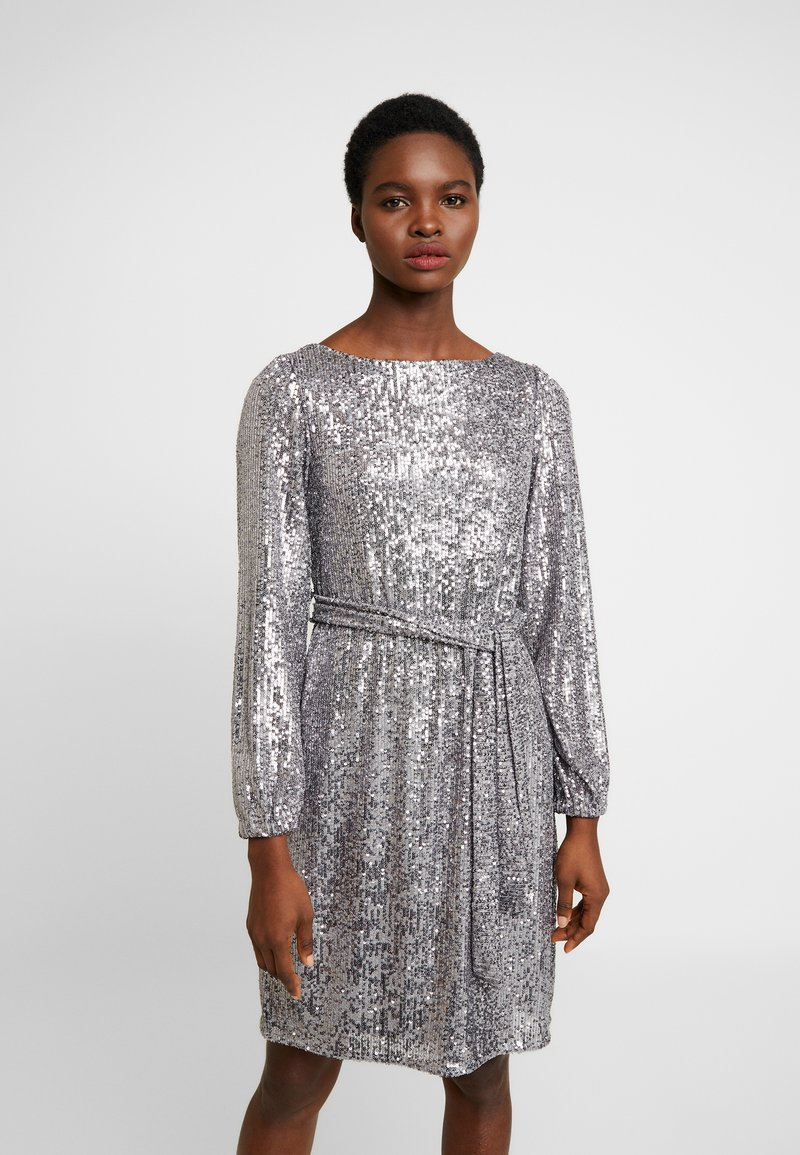 Dorothy Perkins - LONG SLEEVE FIT AND FLARE - Cocktailkjole - silver
