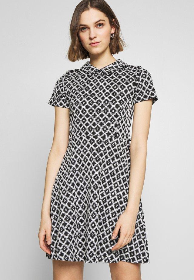GEO COLLARED DRESS - Korte jurk - black