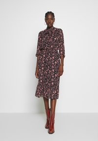 Dorothy Perkins - SHADOW FLORAL PUSSYBOW FRILL HEM DRESS - Kjole - black - 0