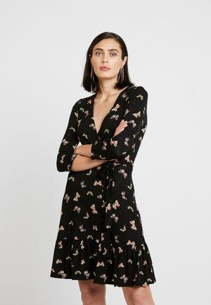 BUTTERFLY WRAP TIE WAIST - Jersey dress - black