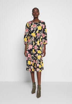 LARGE FLORAL TIERED MIDI - Day dress - black