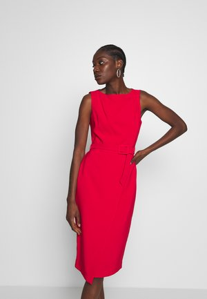 BELTED WRAP DRESS - Pouzdrové šaty - red