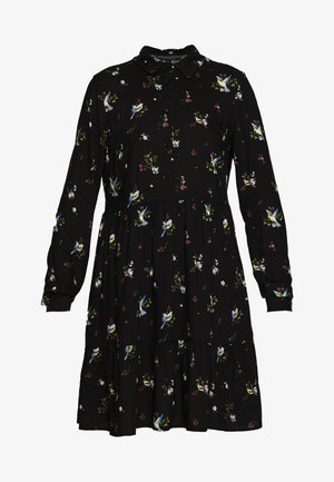 BIRD PRINT FRILL HEM DRESS - Sukienka letnia - black