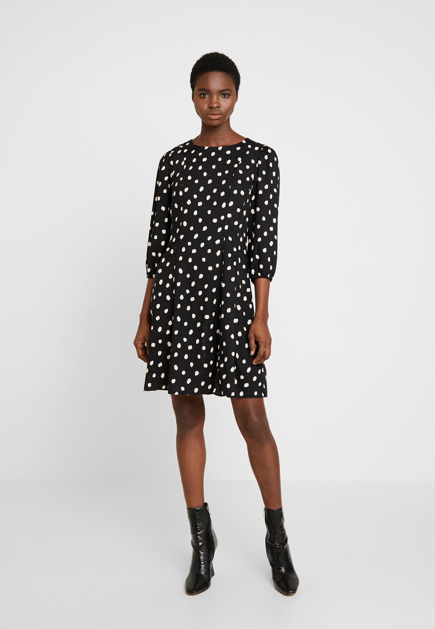 Dorothy Perkins SPOT THREE QUARTER SLEEVE - Sukienka letnia - black