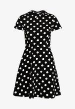 LARGE SPOT COLLARED DRESS - Day dress - black