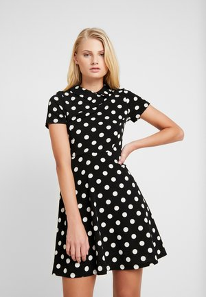 LARGE SPOT COLLARED DRESS - Vestito estivo - black