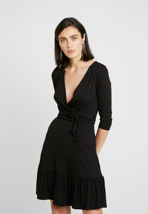 PLAIN WRAP TIE WAIST - Sukienka letnia - black