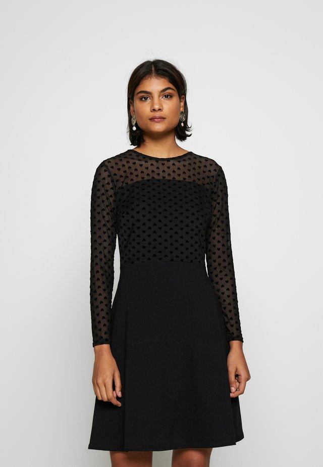 HEART DRESS - Jersey dress - black