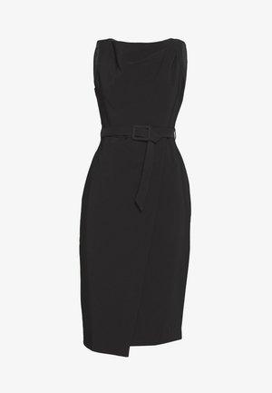 BELTED WRAP DRESS - Pouzdrové šaty - black