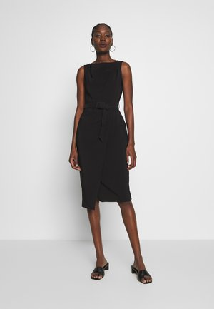 BELTED WRAP DRESS - Shift dress - black