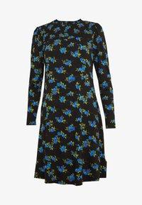 Dorothy Perkins - BLUE FLORAL SHIRRED DRESS - Vapaa-ajan mekko - black - 4