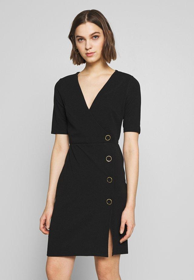 BUTTON DETAIL SHIFT DRESS - Etui-jurk - black