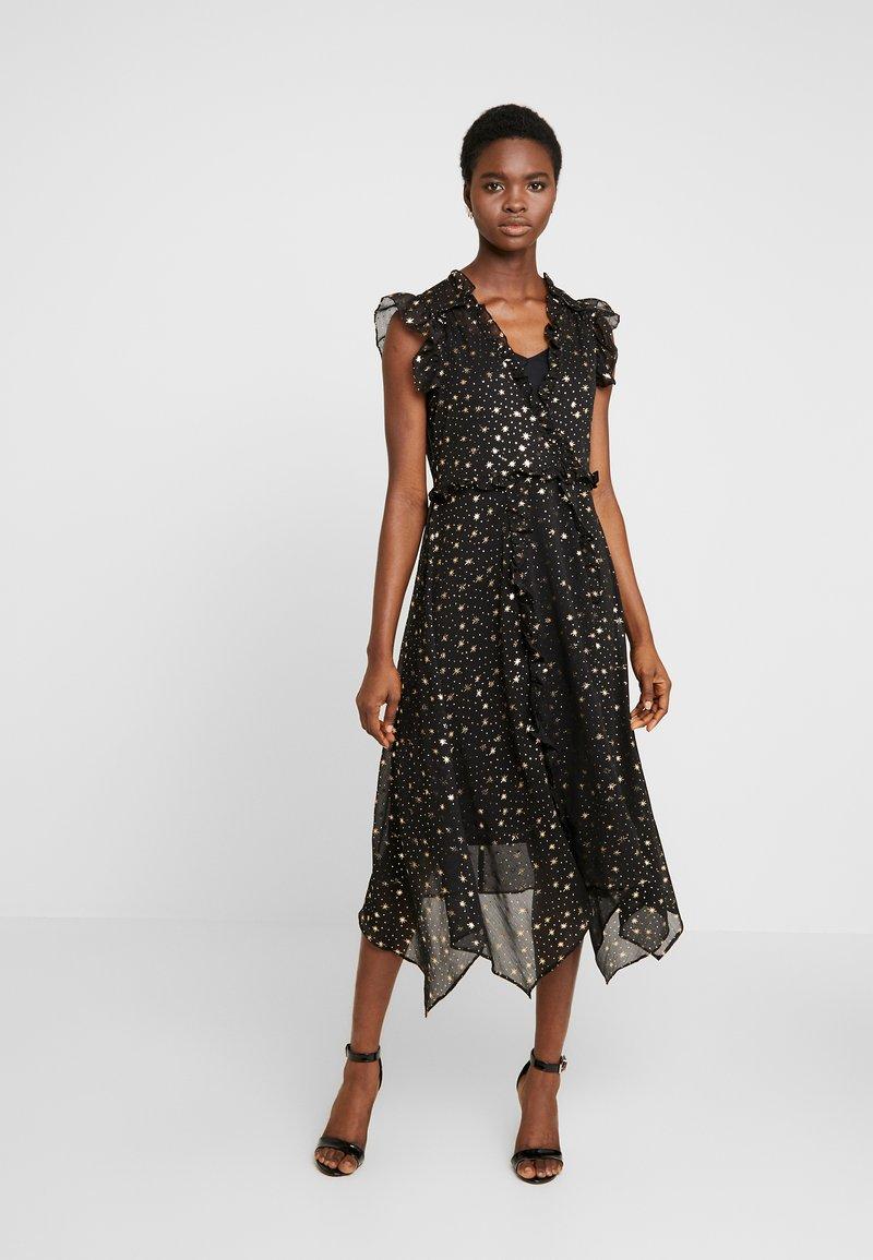 Dorothy Perkins - STAR FOIL ASYM RUFFLE MIDI - Denní šaty - black