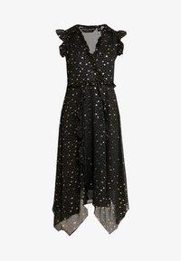 Dorothy Perkins - STAR FOIL ASYM RUFFLE MIDI - Denní šaty - black - 4